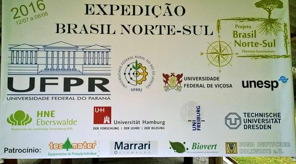 Organização, apoio e patrocínio da Expediação Brasil Norte-Sul 2016